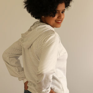 White/Grey Striped Hoodie For Women