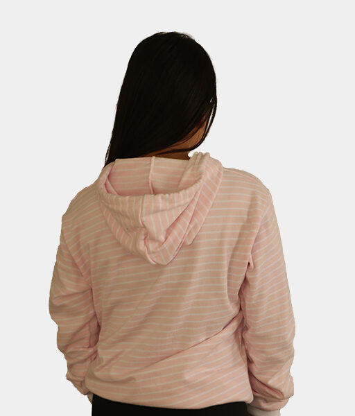 Pink/White Striped Hoodie For Women