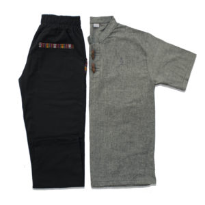 Half Sleeve Kurta and Pajama Set (Dark Grey/Black)