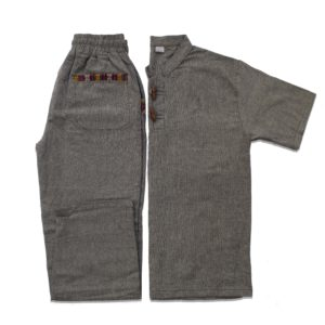 Half Sleeve Kurta and Pajama Set (Dark Grey/Dark Grey)