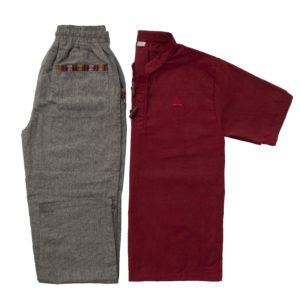Half Sleeve Kurta and Pajama Set (Maroon/Dark Grey)