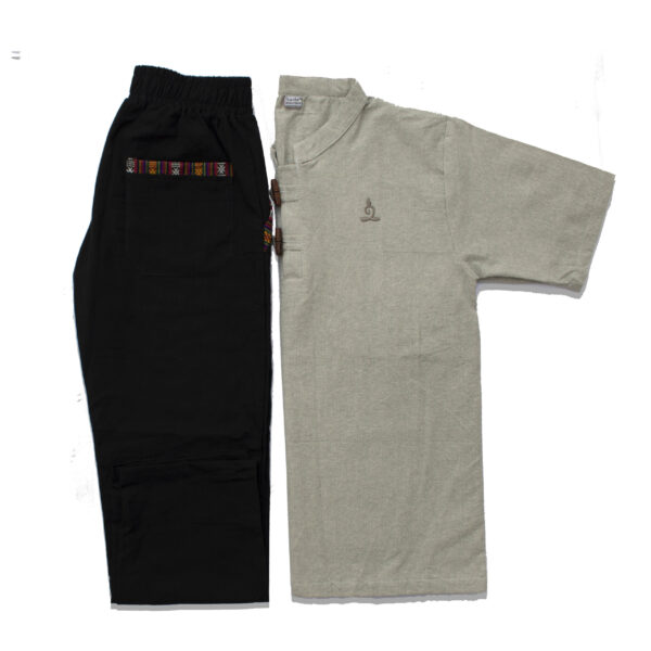 Half Sleeve Kurta and Pajama Set (Light Grey/Black)