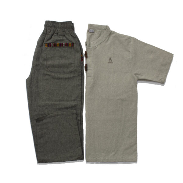 Half Sleeve Kurta and Pajama Set (Light Grey/Dark Grey)