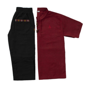 Half Sleeve Kurta and Pajama Set (Maroon/Black)