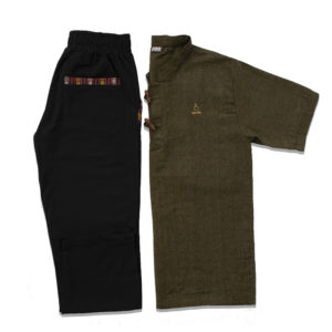 Half Sleeve Kurta and Pajama Set (Seaweed Green/Black)