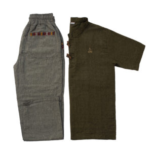 Half Sleeve Kurta and Pajama Set (Seaweed Green/Dark Grey)