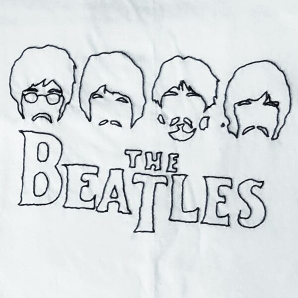 The Beatles Hand Embroidery T-Shirt-White
