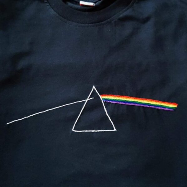 Pink Floyd Hand Embroidery T-Shirt-Black
