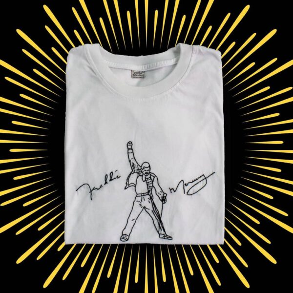 Freddie Mercury Hand Embroidery T-Shirt (White)