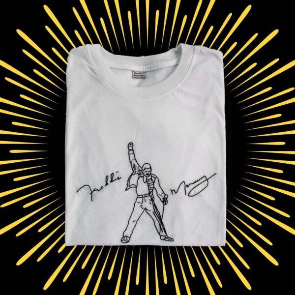 Freddie Mercury Hand Embroidery T-Shirt (White)
