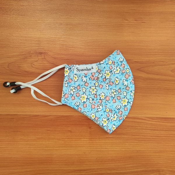 Sparsha 3 Layer Reusable Cotton Mask- Sky Blue/Flower Print