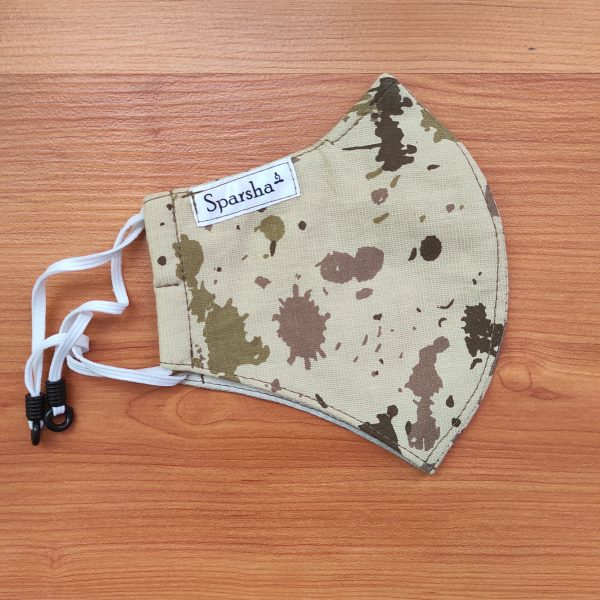 Sparsha 3 Layer Reusable Cotton Mask- Off White/Combat Print