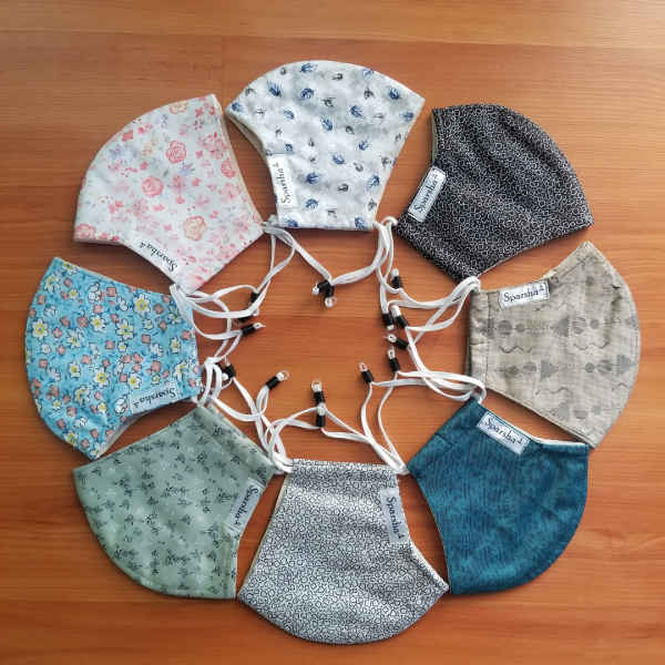 Sparsha 3 Layer Reusable Cotton Mask- Combo of 8(D3)