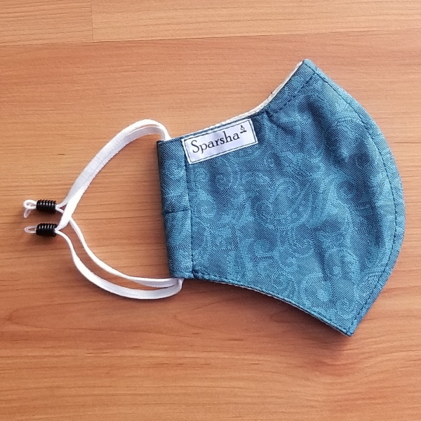 Sparsha 3 Layer Reusable Cotton Mask- Petrol Blue