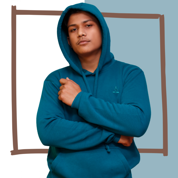 Sparsha Logo Threaded Petrol Blue Hoodie (Unisex)