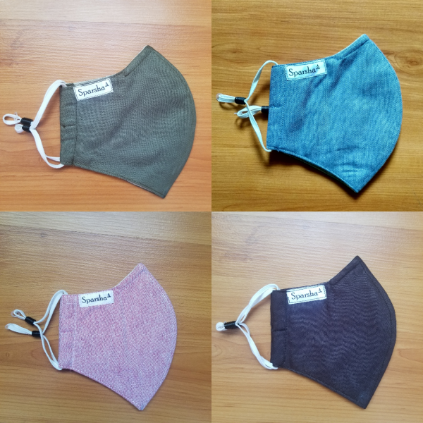 Sparsha 3 Layer Reusable Cotton Mask- Combo of 4