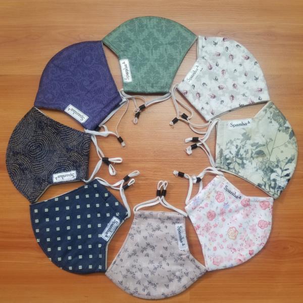 Sparsha 3 Layer Reusable Cotton Mask- Combo of 8(D6) Medium Size